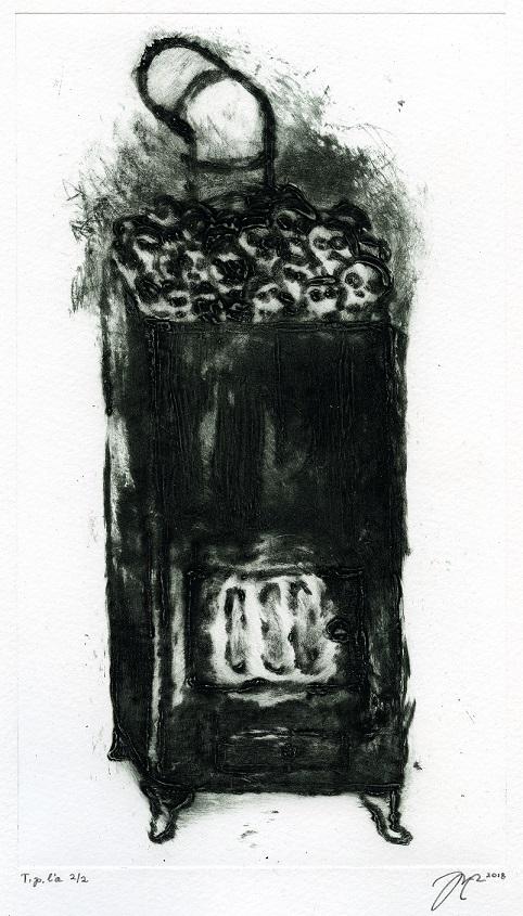 Löyly (2018), carborundum, 24 x 14 cm